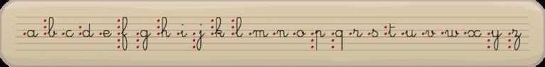 Écriture cursive - les 26 lettres de l'alphabet en attaché