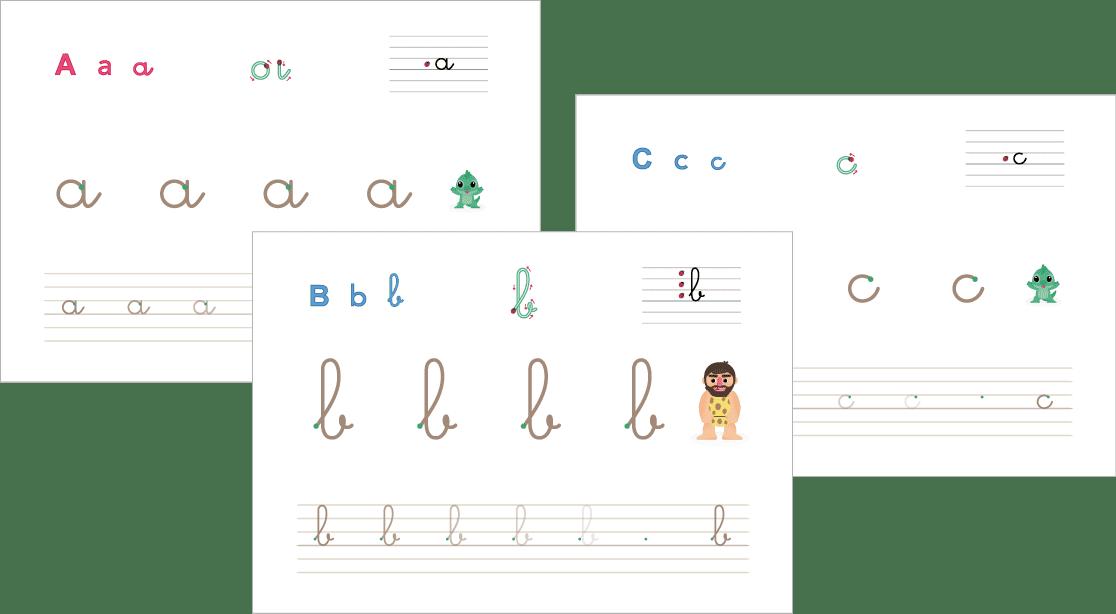fiches d'écriture à imprimer lettres cursives minuscules