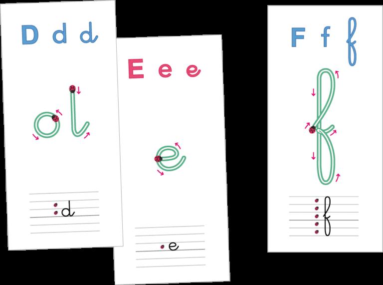 le tracé des lettres cursives - cartes individuelles lettres cursives alphabet français