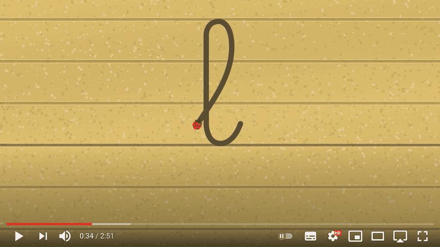 tracé des lettres à boucles - vidéo écriture cursive minuscule - maternelle CP CE1 IEF