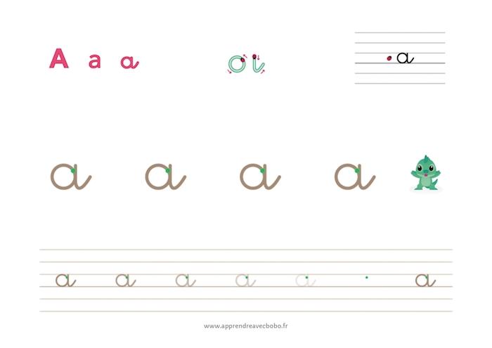 tracé des lettres rondes - fiche d'écriture à imprimer - lettre a cursive minuscule