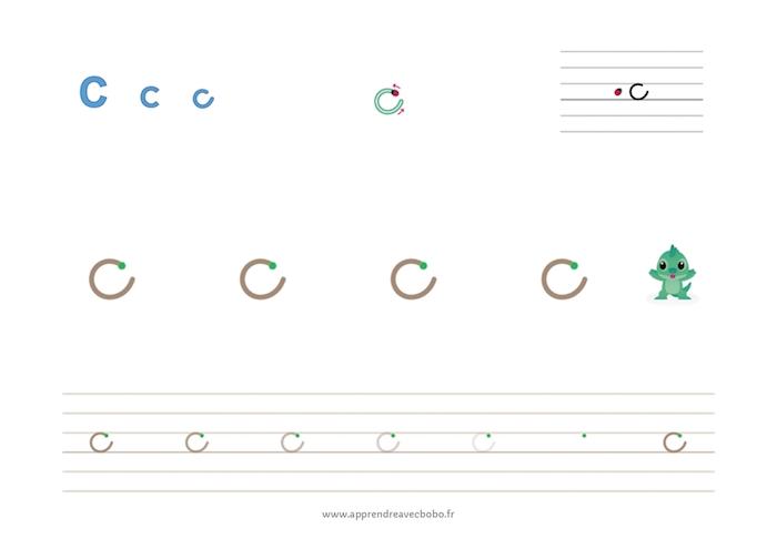 tracé des lettres rondes - fiche d'écriture à imprimer - lettre c cursive minuscule