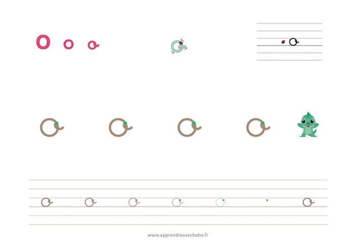 tracé des lettres rondes - fiche d'écriture à imprimer - lettre o cursive minuscule