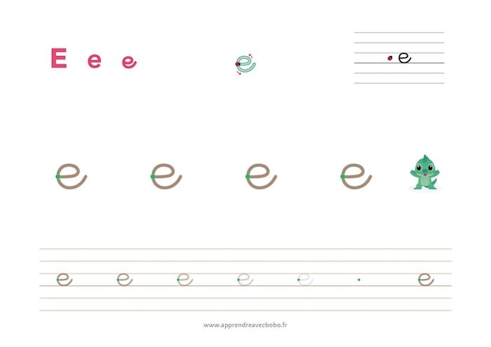 tracé des lettres à boucles - fiche d'écriture à imprimer - lettre e cursive minuscule