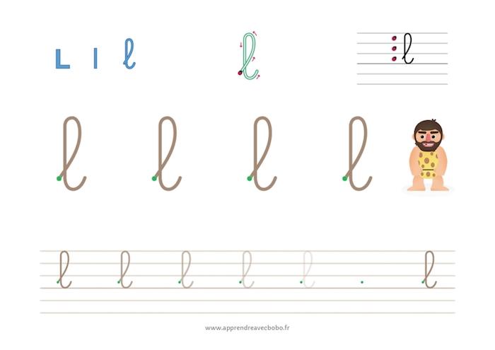 tracé des lettres à boucles - fiche d'écriture à imprimer - lettre l cursive minuscule