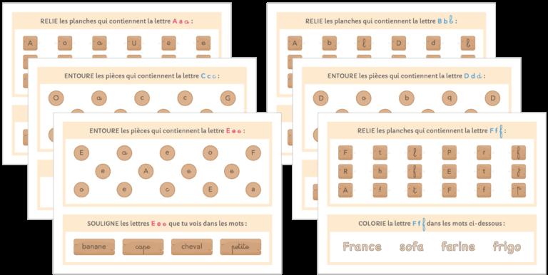 fiches d'activités identification visuelle lettre capiale - script - cursive à imprimer