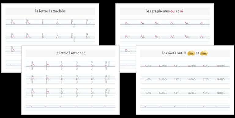 fiches d'écriture ligature fluide sans déformation à imprimer