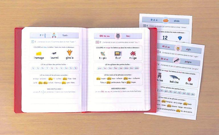 fiches des sons CP à imprimer - prêtes à coller dans le cahier des sons