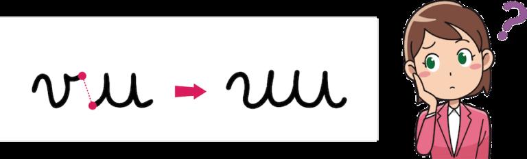 traits d'attaque et de sortie inadaptés - déformation des lettres -